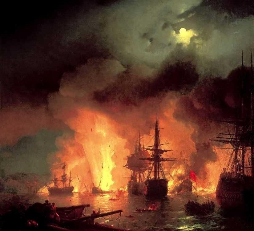 И. К. Айвазовский. Чесменский бой 25-26 июня 1770 года