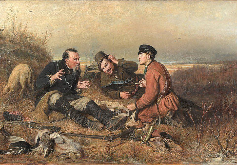 В. Г. Перов. Охотники на привале обсуждают план сочинения.