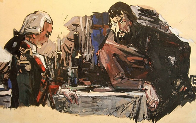 П. Л. Бунин. Пугачёв и Гринёв. 1960.